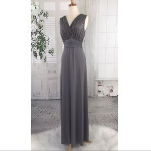 Sangria Gown 12 New Stretch Lace Long Dress Pewter